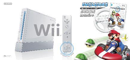 Nintendo, Nintendo Wii Nintendo Wii White + Mario Kart + Wheel