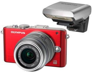 Olympus, Fotoaparát Fotoaparát Olympus PEN E-PL3 red +14-42mm silver + externí blesk FL-LM1