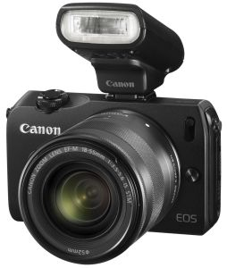 Canon, Fotoaparát Fotoaparát Canon EOS M Black + 18-55 mm IS STM + blesk Speedlite 90EX